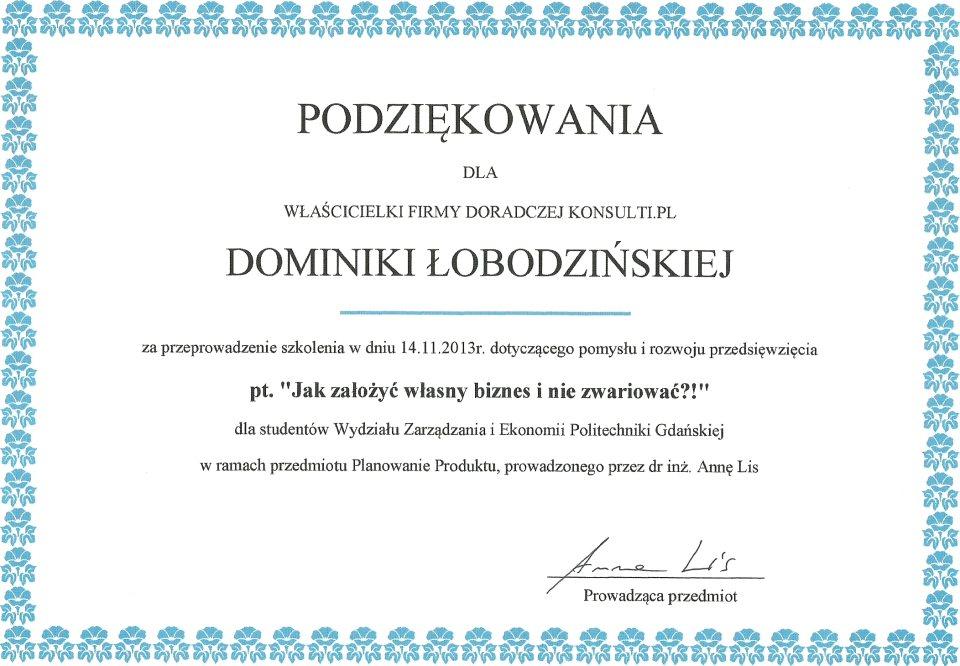 Dyplom - podziękowanie za szkolenie na WZ PG